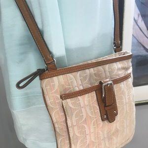 """FOSSIL Crossbody Bag """"BoHo"""" Pastel Beige Saddle"""